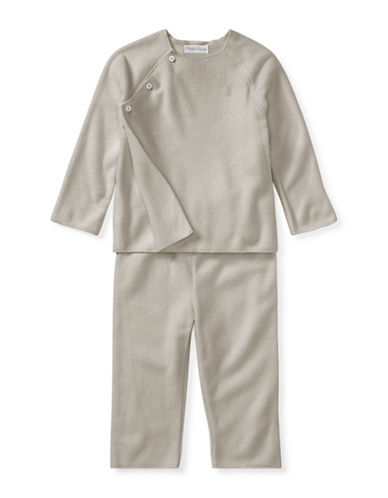 Ralph Lauren Childrenswear Two-Piece Fleece Pullover and Pants Set-GREY-6 Months