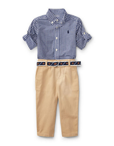 Ralph Lauren Childrenswear Cotton Gingham Shirt and Chino Pants Set-BLUE-6 Months