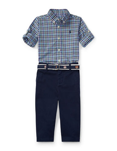 Ralph Lauren Childrenswear Cotton Plaid Poplin Shirt Twill Trousers and Belt Set-RED-3 Months