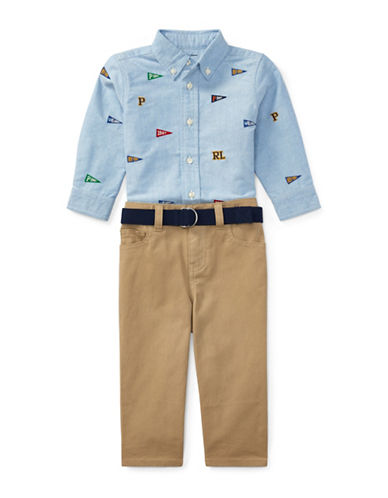 Ralph Lauren Childrenswear Cotton Embroidered Shirt Chino Pants and Cotton Belt Set-BLUE-6 Months