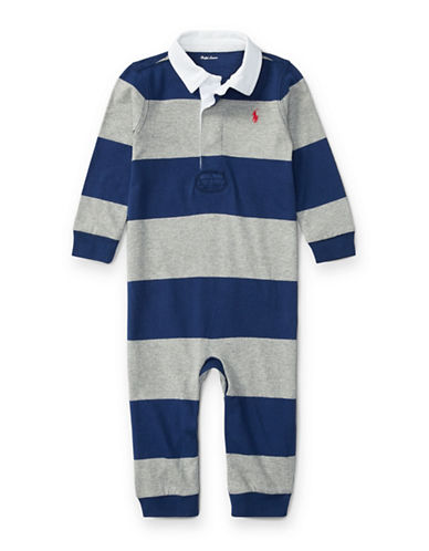 Ralph Lauren Childrenswear Cotton Bold Stripe Rugby Coverall-BLUE-9 Months