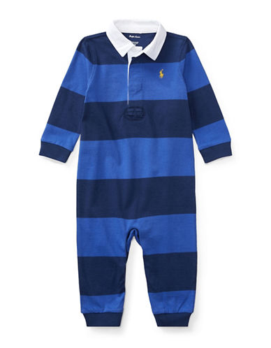 Ralph Lauren Childrenswear Cotton Bold Stripe Rugby Coverall-NAVY-6 Months