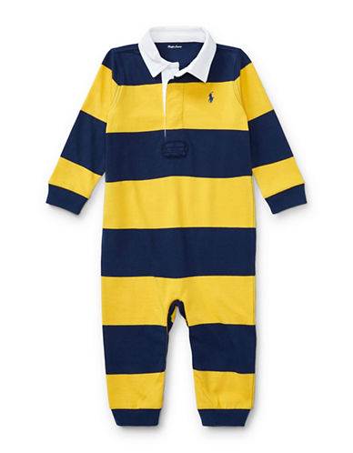 Ralph Lauren Childrenswear Cotton Bold Stripe Rugby Coverall-YELLOW-9 Months