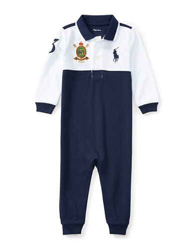 Ralph Lauren Childrenswear Cotton Coverall with Embroidered Logo-WHITE-3 Months