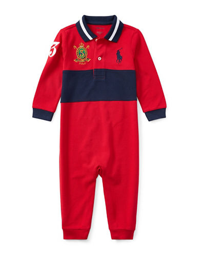 Ralph Lauren Childrenswear Cotton Coverall with Embroidered Logo-RED-3 Months