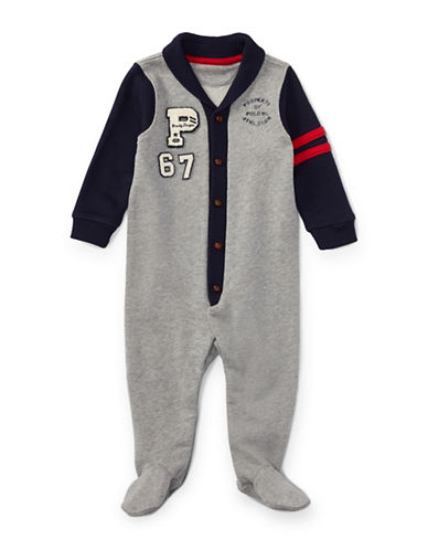 Ralph Lauren Childrenswear Cotton French Terry Coverall-GREY-3 Months