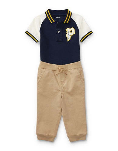 Ralph Lauren Childrenswear Cotton Polo Shirt and Pants Set-BLUE-24 Months