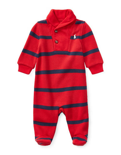 Ralph Lauren Childrenswear Striped French-Rib Coverall-RED-3 Months