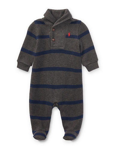 Ralph Lauren Childrenswear Striped French-Rib Coverall-GREY-9 Months
