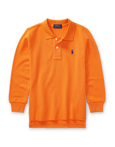 Ralph Lauren Childrenswear Long-Sleeve Cotton Mesh Polo-ORANGE-2T