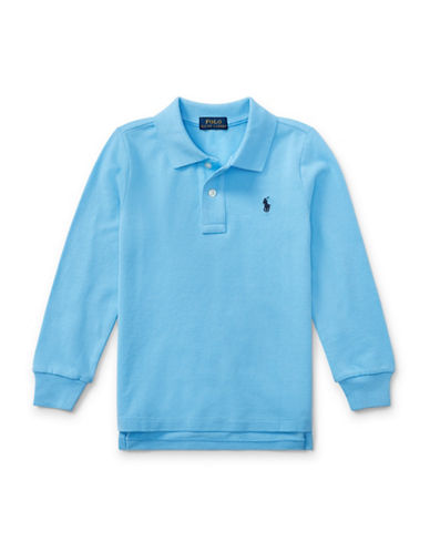 Ralph Lauren Childrenswear Long-Sleeve Cotton Mesh Polo-BLUE-4T