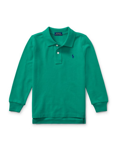 Ralph Lauren Childrenswear Long-Sleeve Cotton Mesh Polo-GREEN-2T