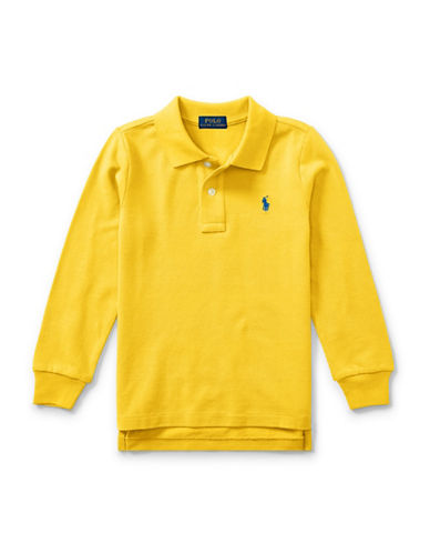 Ralph Lauren Childrenswear Long-Sleeve Cotton Mesh Polo-YELLOW-2T