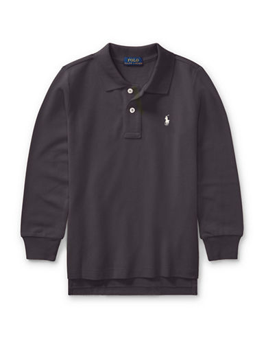 Ralph Lauren Childrenswear Long-Sleeve Cotton Mesh Polo-GREY-2T