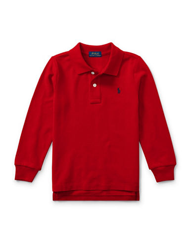 Ralph Lauren Childrenswear Long-Sleeve Cotton Mesh Polo-RED-2T