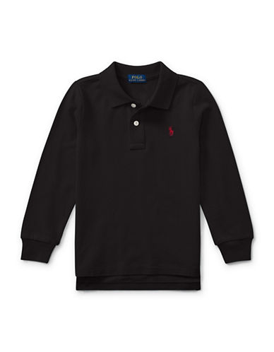 Ralph Lauren Childrenswear Long-Sleeve Cotton Mesh Polo-BLACK-4T