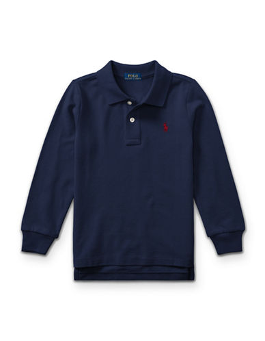 Ralph Lauren Childrenswear Long-Sleeve Cotton Mesh Polo-BLUE-2T