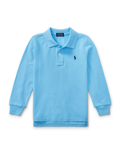 Ralph Lauren Childrenswear Long-Sleeve Cotton Mesh Polo-GREY-2T