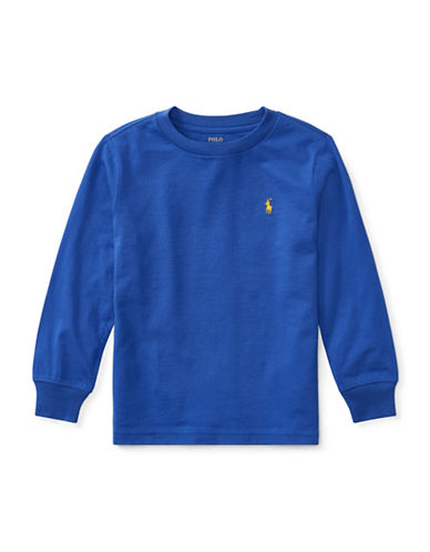 Ralph Lauren Childrenswear Long-Sleeve Cotton Jersey T-Shirt-BLUE-3T