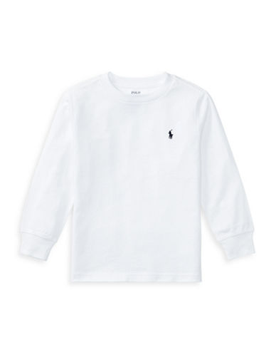 Ralph Lauren Childrenswear Long-Sleeve Cotton Jersey T-Shirt-WHITE-2T