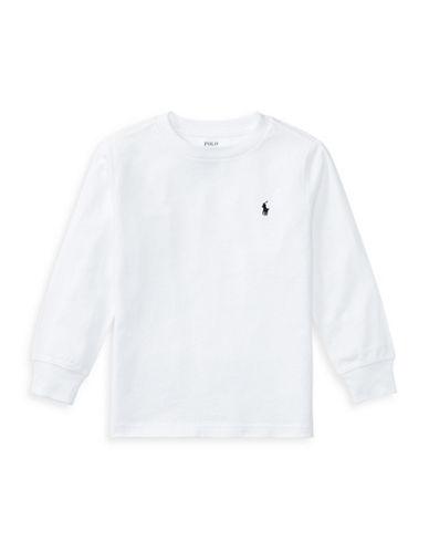 Ralph Lauren Childrenswear Long-Sleeve Cotton Jersey T-Shirt-WHITE-4T