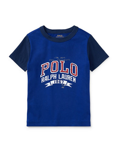 Ralph Lauren Childrenswear Cotton Jersey Graphic Cotton T-Shirt-BLUE-4