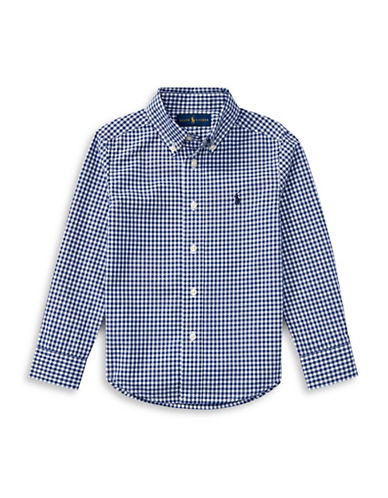 Ralph Lauren Childrenswear Gingham Cotton Poplin Shirt-BLUE-2