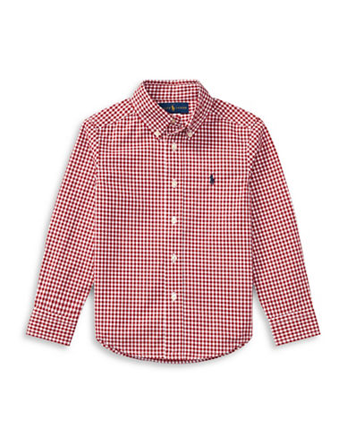 Ralph Lauren Childrenswear Gingham Cotton Poplin Shirt-RED-2