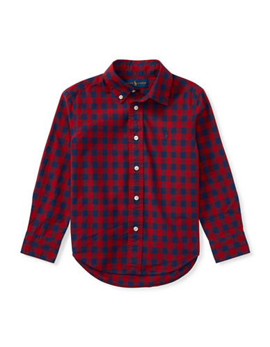 Ralph Lauren Childrenswear Checked Cotton Sport Shirt-RED-3T