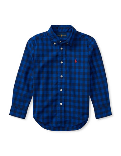 Ralph Lauren Childrenswear Checked Cotton Sport Shirt-BLUE-3T