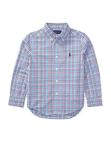 Ralph Lauren Childrenswear Plaid Cotton Poplin Shirt-LIGHT BLUE-4