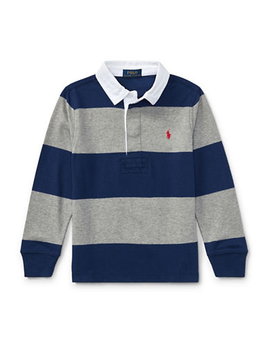 Ralph Lauren Childrenswear Striped Cotton Rugby Shirt-DARK BLUE-3