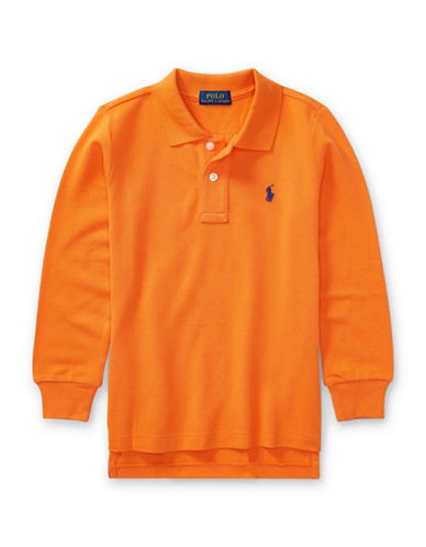 Ralph Lauren Childrenswear Long-Sleeve Cotton Mesh Polo-ORANGE-7