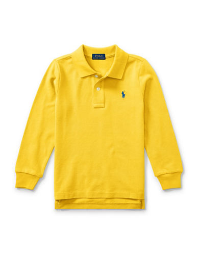 Ralph Lauren Childrenswear Long-Sleeve Cotton Mesh Polo-YELLOW-5