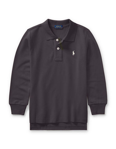 Ralph Lauren Childrenswear Long-Sleeve Cotton Mesh Polo-GREY-5