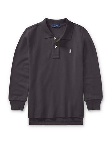 Ralph Lauren Childrenswear Long-Sleeve Cotton Mesh Polo-GREY-7
