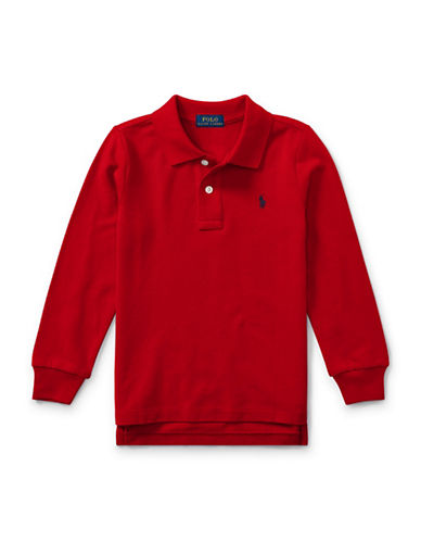 Ralph Lauren Childrenswear Long-Sleeve Cotton Mesh Polo-RED-7