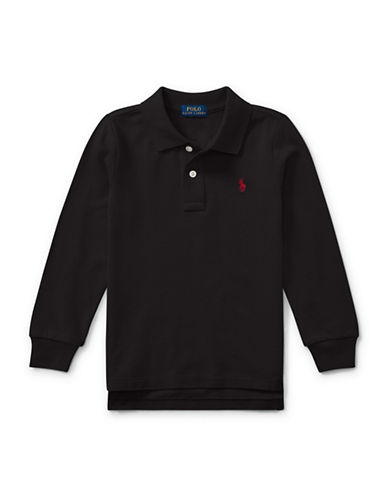 Ralph Lauren Childrenswear Long-Sleeve Cotton Mesh Polo-BLACK-6