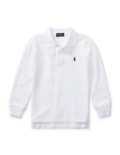 Ralph Lauren Childrenswear Long-Sleeve Cotton Mesh Polo-WHITE-7