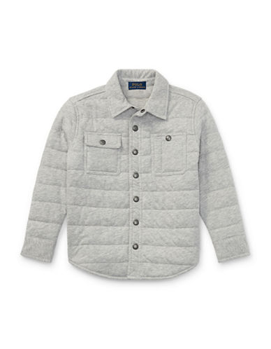 Ralph Lauren Childrenswear Quilted Jersey Shirt Jacket-GREY-6