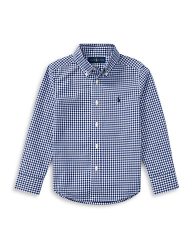 Ralph Lauren Childrenswear Gingham Cotton Poplin Shirt-BLUE-5