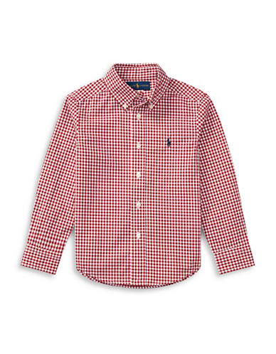 Ralph Lauren Childrenswear Plaid Cotton Poplin Shirt-RED-6
