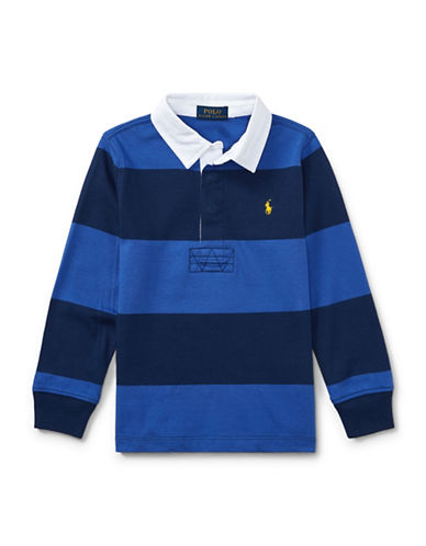 Ralph Lauren Childrenswear Striped Cotton Rugby Shirt-BLUE-5