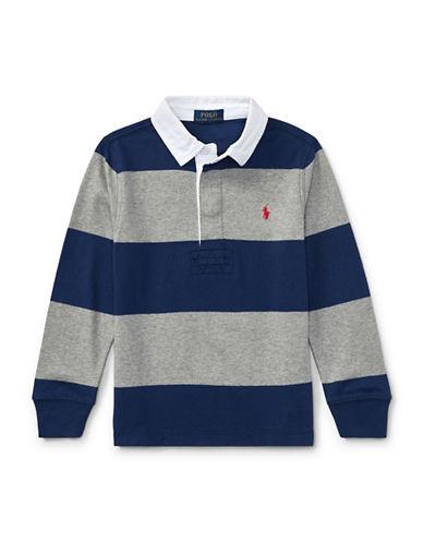 Ralph Lauren Childrenswear Striped Cotton Rugby Shirt-BLUE/GREY-5