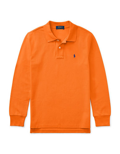 Ralph Lauren Childrenswear Long-Sleeve Cotton Mesh Polo-ORANGE-Medium