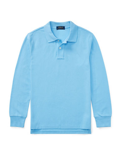 Ralph Lauren Childrenswear Long-Sleeve Cotton Mesh Polo-BLUE-Large