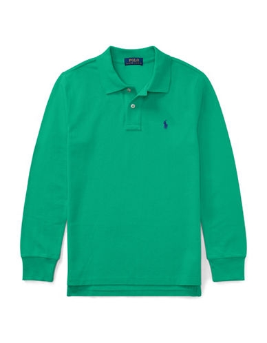 Ralph Lauren Childrenswear Long-Sleeve Cotton Mesh Polo-GREEN-Medium