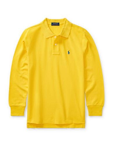Ralph Lauren Childrenswear Long-Sleeve Cotton Mesh Polo-YELLOW-Large