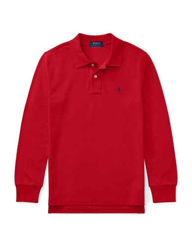 Ralph Lauren Childrenswear Long-Sleeve Cotton Mesh Polo-RED-Large