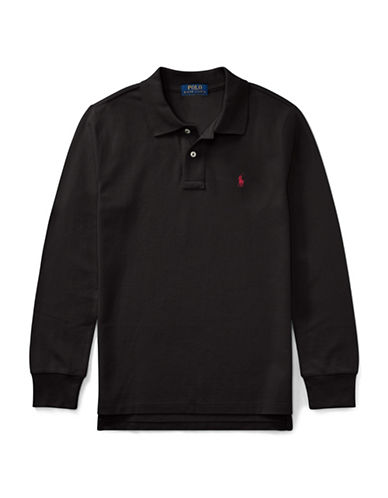 Ralph Lauren Childrenswear Long-Sleeve Cotton Mesh Polo-BLACK-Large